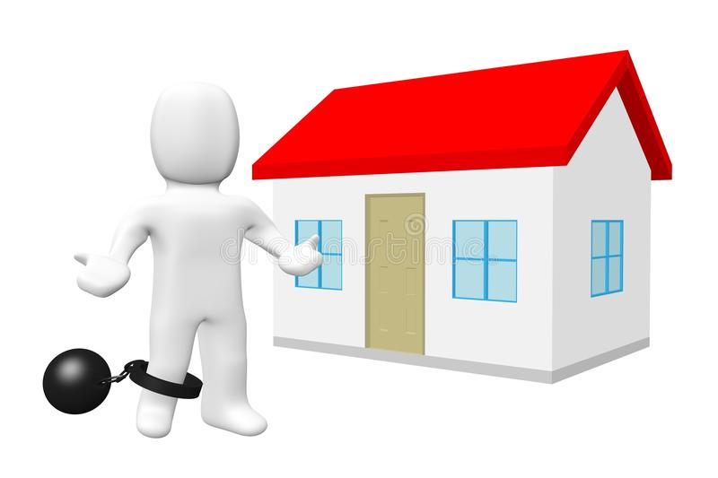 3d barrier buy home. People have difficulty buying a house royalty free illustration