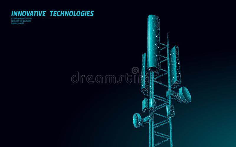 3d base station receiver. telecommunication tower 5g polygonal design global connection information transmitter. Mobile. Radio antenna cellular vector royalty free illustration