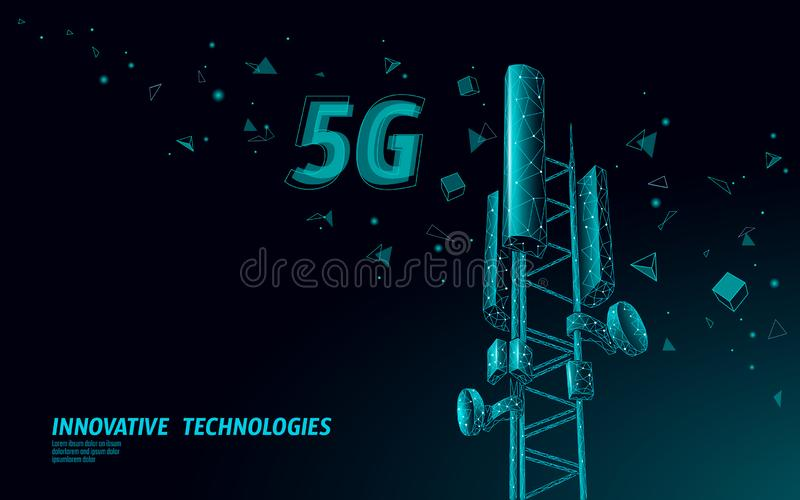 3d base station receiver. telecommunication tower 5g polygonal design global connection information transmitter. Mobile. Radio antenna cellular vector vector illustration