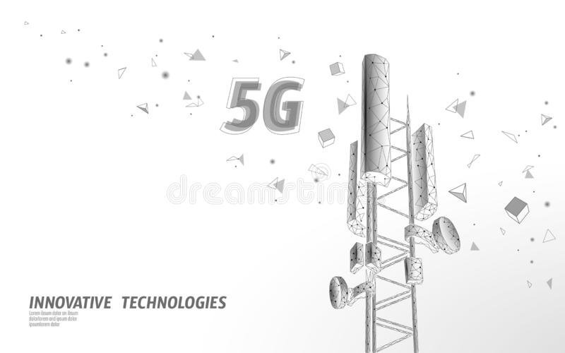 3d base station receiver. telecommunication tower 5g polygonal design global connection information transmitter. Mobile. Radio antenna cellular vector stock illustration