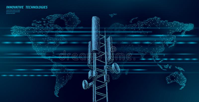 3d base station receiver. telecommunication tower 4g polygonal design global connection information transmitter. Mobile. Radio antenna cellular vector royalty free illustration
