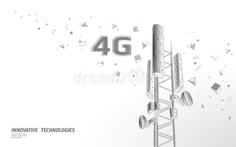 3d base station receiver. telecommunication tower 4g polygonal design global connection information transmitter. Mobile. Radio antenna cellular vector stock illustration