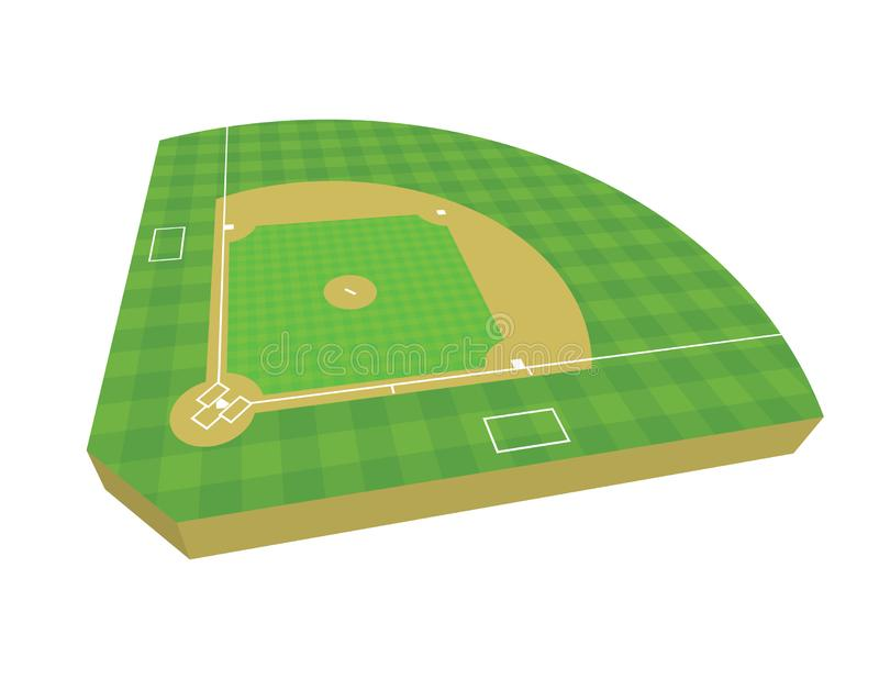 3D Baseball Field Illustration royalty free stock photo