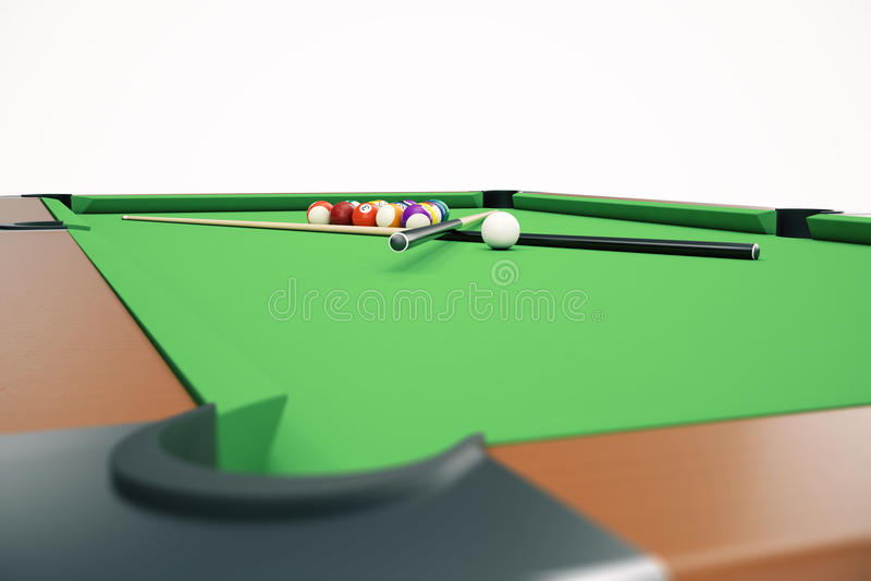3D basenu snookeru piłek ilustracyjny Amerykański tło Amerykanin Bilardowy Prętowa gra, Bilardowa stołowa gra ilustracja wektor