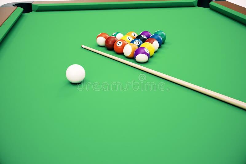 3D basenu snookeru piłek ilustracyjny Amerykański tło Amerykanin Bilardowy zamyka w górę bilardowych piłek Prętowa gra billiard obraz stock
