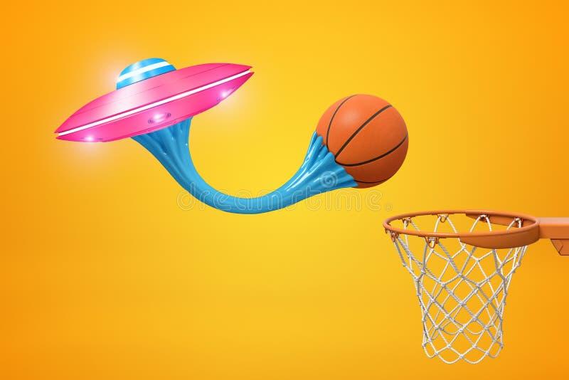 3d basketbal, geplakt op roze metaal UFO met blauwe kauwgom en basketbalhoepel op gele achtergrond royalty-vrije stock foto's