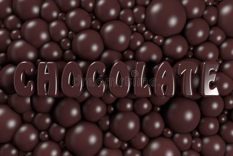 """3D beaucoup de bulles et l'inscription """"CHOCOLAT """"de chocolat illustration stock"""
