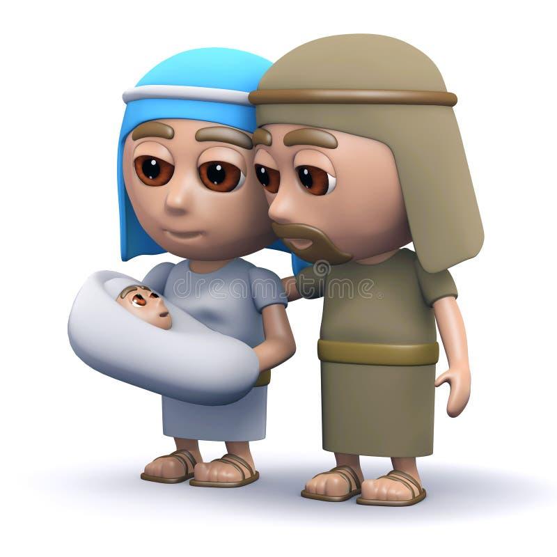 3d bebé Jesús con Maria y José stock de ilustración