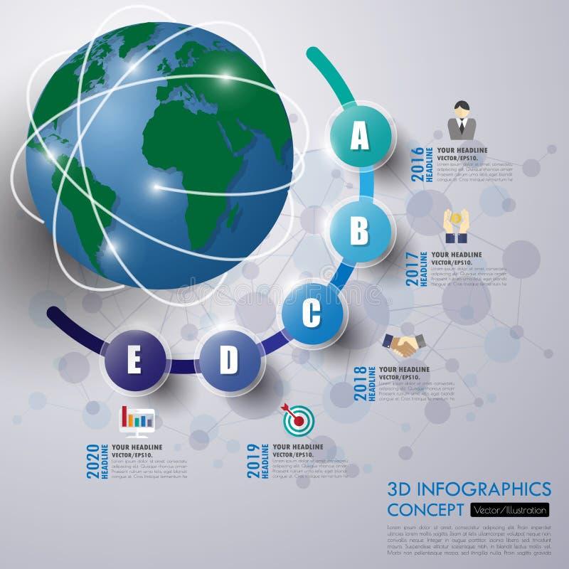 3d bedrijfsconceptenchronologie Infographmalplaatje, realistische pape vector illustratie