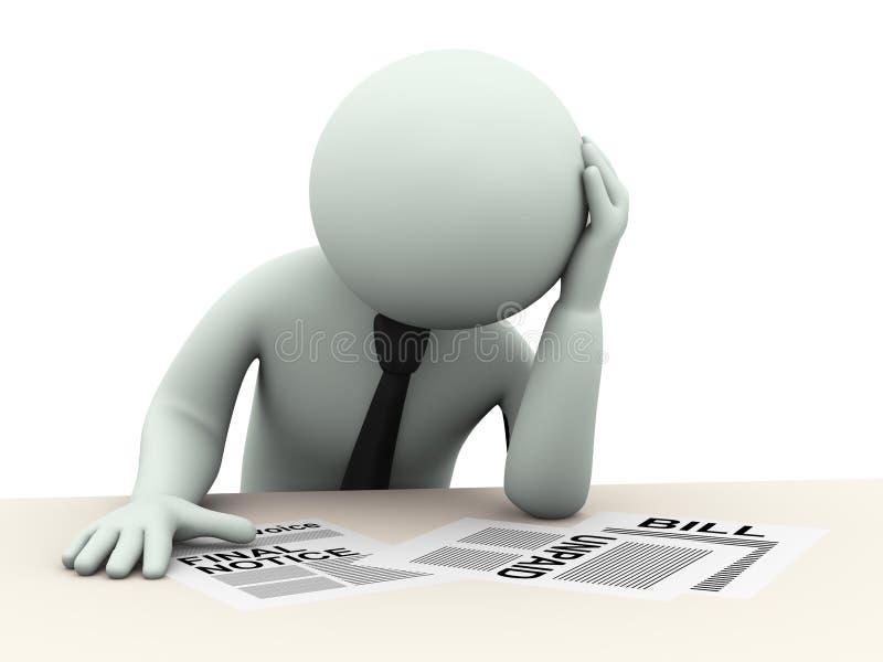 3d bedrijfsdiemens over rekeningen ongerust wordt gemaakt royalty-vrije illustratie