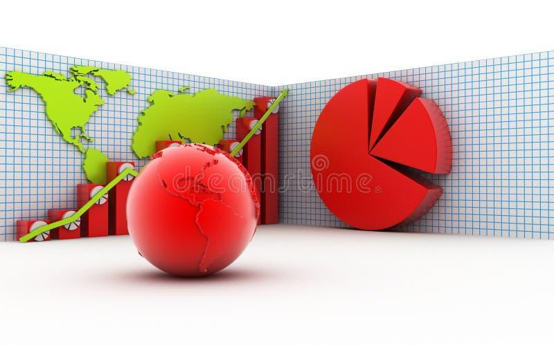 3d bedrijfsgrafiek met pasteidiagram vector illustratie