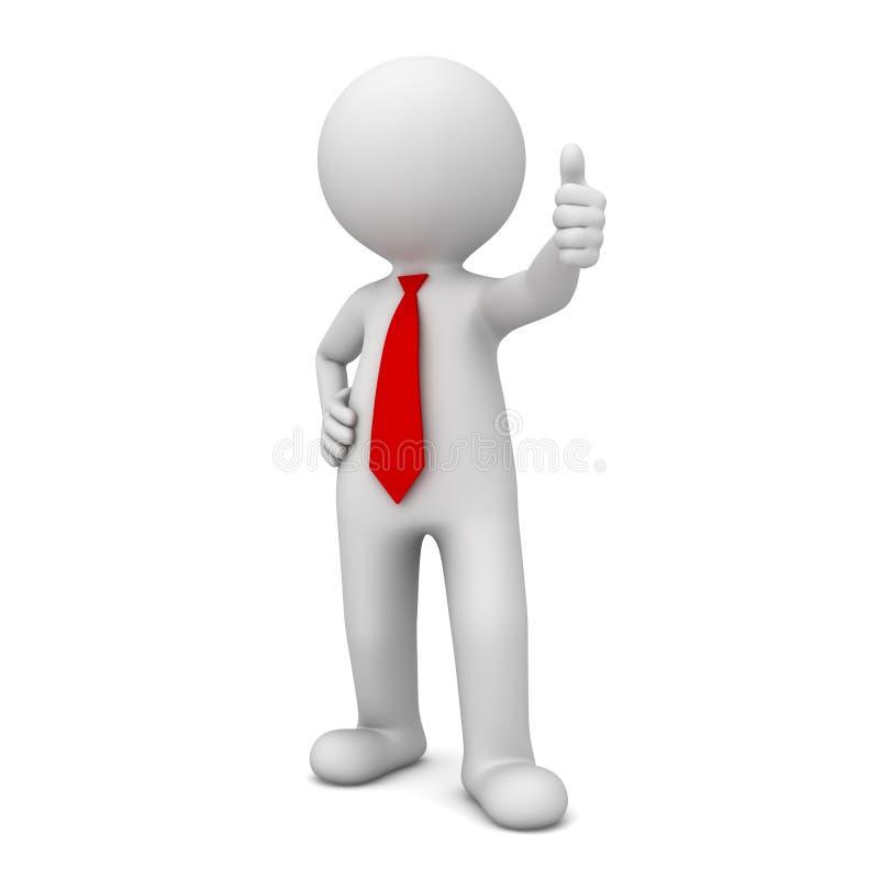 3d bedrijfsmens die duimen als over wit tonen stock illustratie