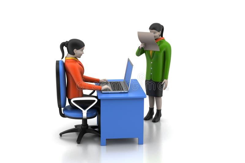 3d bedrijfsmensen die laptop werken stock illustratie