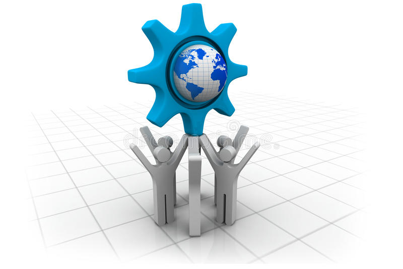 3d bedrijfsmensenteam met bol vector illustratie