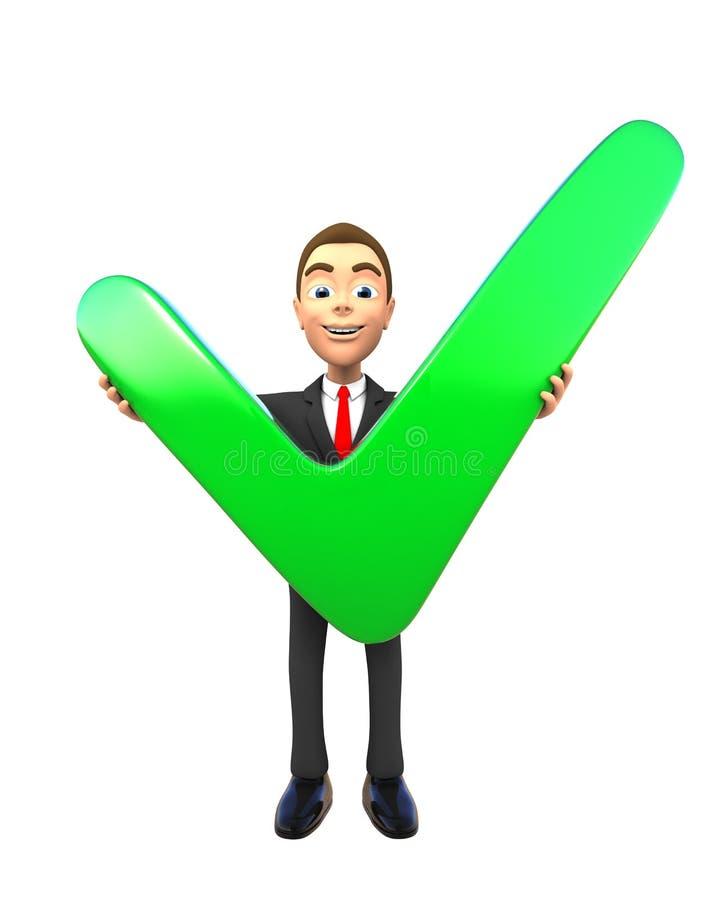 3d bedrijfspersoon die groen vinkje voorstellen stock illustratie