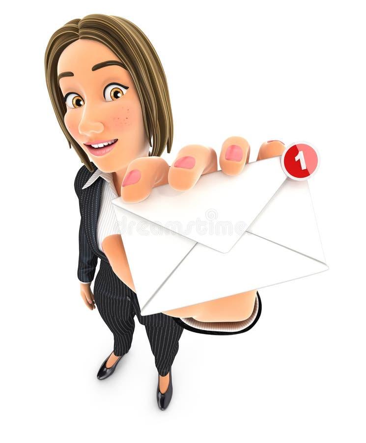 3d bedrijfsvrouw die één nieuw bericht ontvangen royalty-vrije illustratie