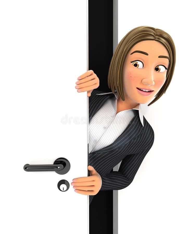 3d bedrijfsvrouw die achter een deur gluren vector illustratie