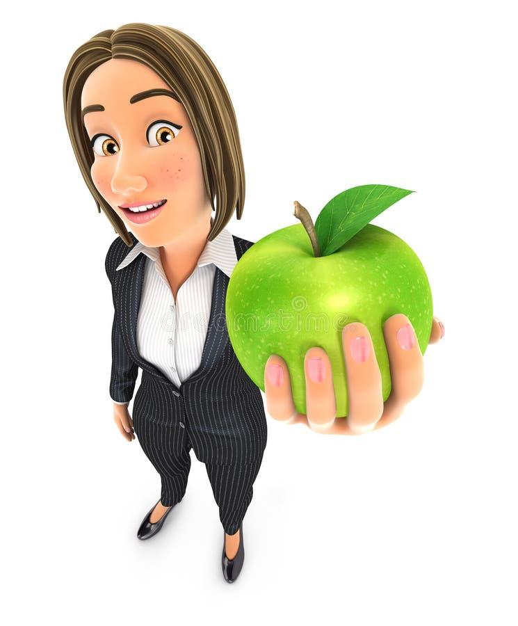 3d bedrijfsvrouw die groene appel houden stock illustratie