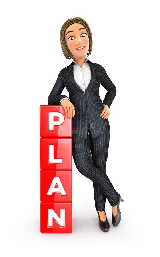 3d bedrijfsvrouw die tegen planwoord leunen vector illustratie