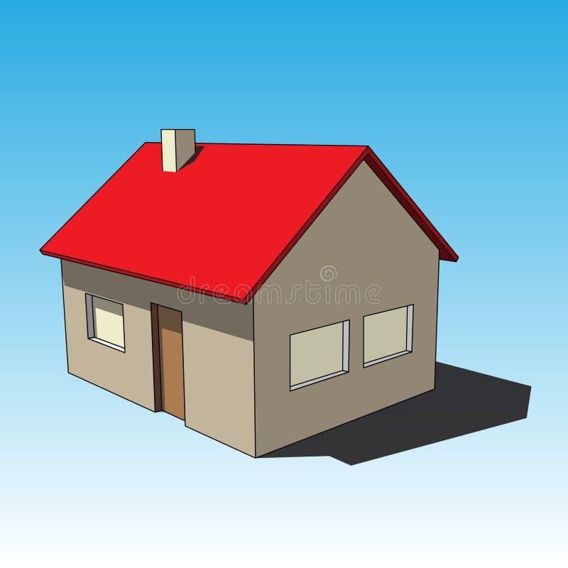 3D beeld - eenvoudig gekleurd geïsoleerd huis royalty-vrije illustratie