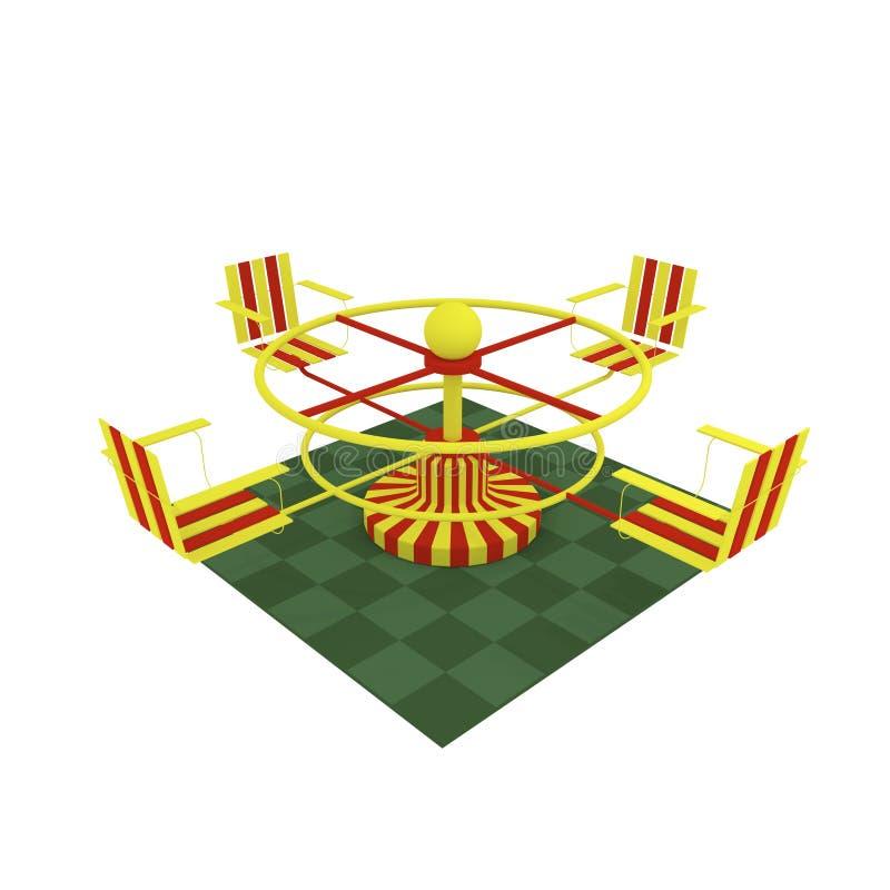 3d beeld, Heldere uitstekende carrousel met vier stoelen royalty-vrije illustratie
