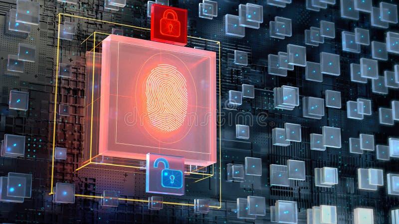 3d beeld van blockchain abstracte achtergrond met het grote digitale blok van de vingerafdrukvergunning en gloeiend hangslot twee royalty-vrije illustratie