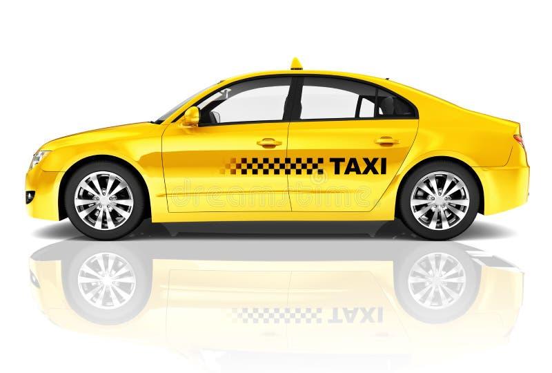 3D Beeld van de Taxiauto van de Zijaanzicht Gele Sedan royalty-vrije stock fotografie