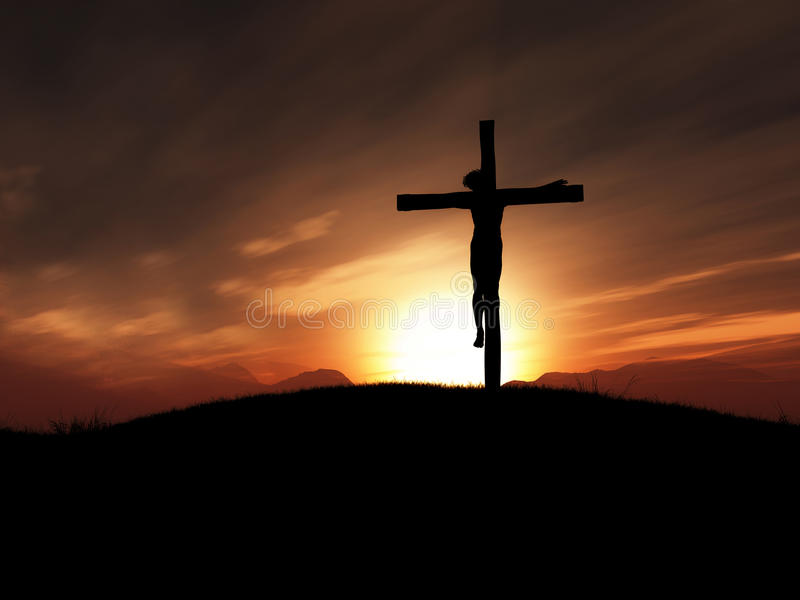 3D beeld van Jesus op het kruis bij zonsondergang stock illustratie