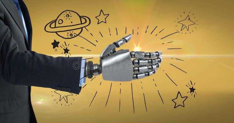 3d beeld van zakenman met robotachtige hand tegen symbolen stock illustratie