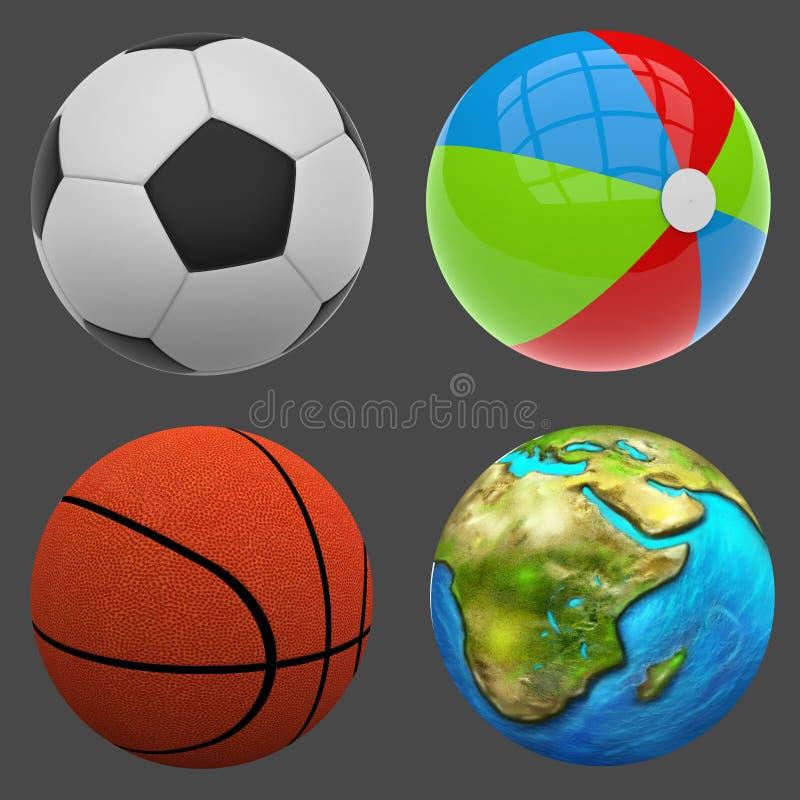 3d beeld Verschillende ballen royalty-vrije illustratie