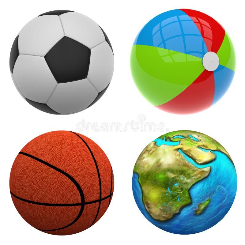3d beeld Verschillende ballen vector illustratie