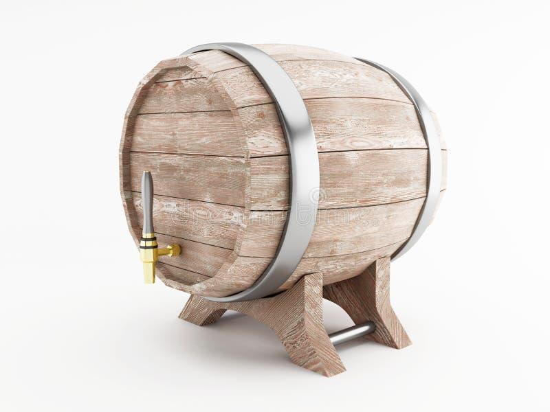 3d Beer barrel against white background. royalty free illustration