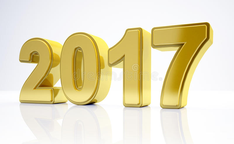 3d - begrepp 2017 - guld för nytt år stock illustrationer