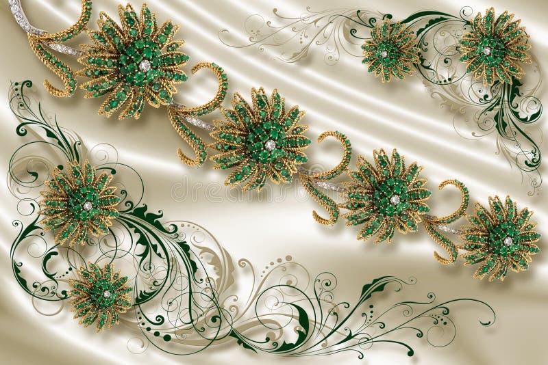 3D behang, gouden Juwelenbloemen op beige zijdeachtergrond royalty-vrije illustratie