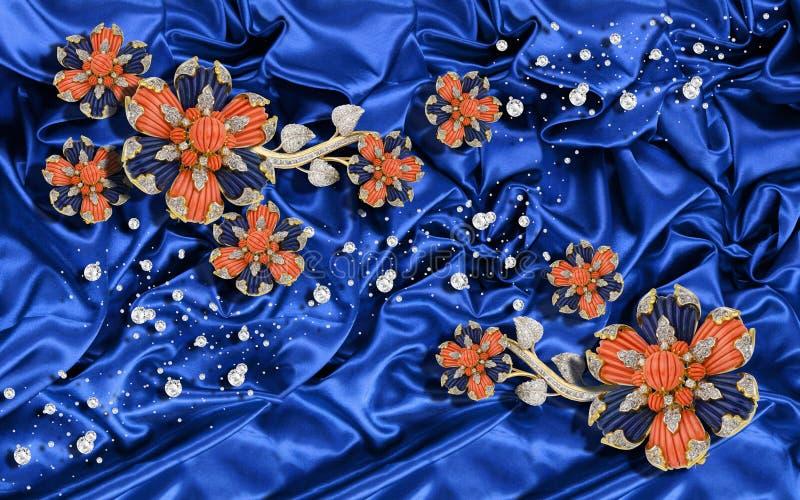 3D behang, Juwelenbloemen op blauwe zijdeachtergrond Vierings 3d achtergrond royalty-vrije illustratie