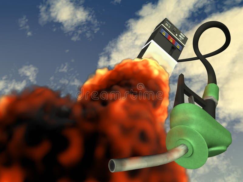 3d: Benzinepomp die als een Raket schieten royalty-vrije illustratie