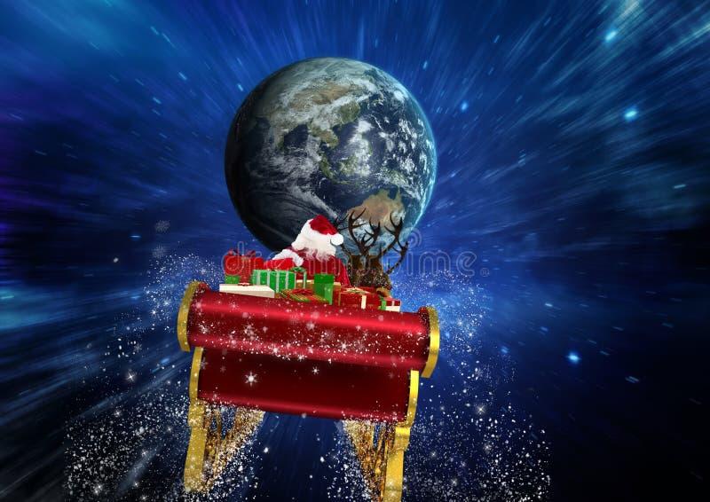 3D berijdende het rendierar van de Kerstman naar bol stock foto's