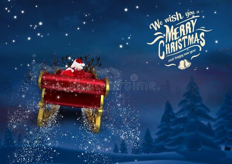 3D berijdende het rendierar van de Kerstman naar de hemel royalty-vrije stock fotografie