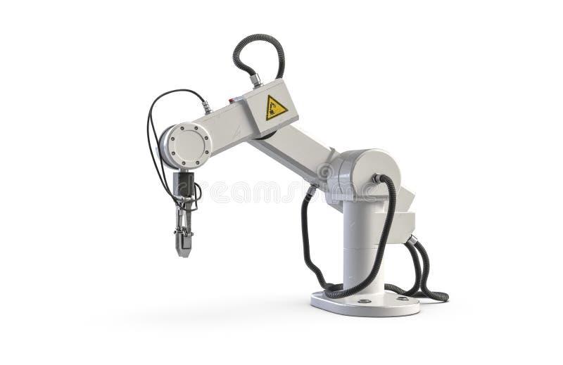 3D ?bertragen vom Roboterarm, der auf Wei? lokalisiert wird vektor abbildung