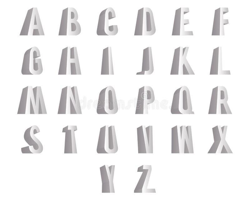 3D bevindende geïsoleerde het ontwerp vectorillustratie van alfabet grote brieven doopvont vector illustratie