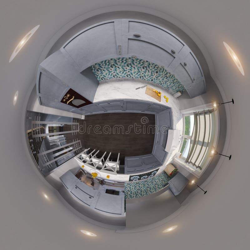 3d bezszwowej kuchennej panoramy ilustracyjni bańczaści 360 stopni royalty ilustracja