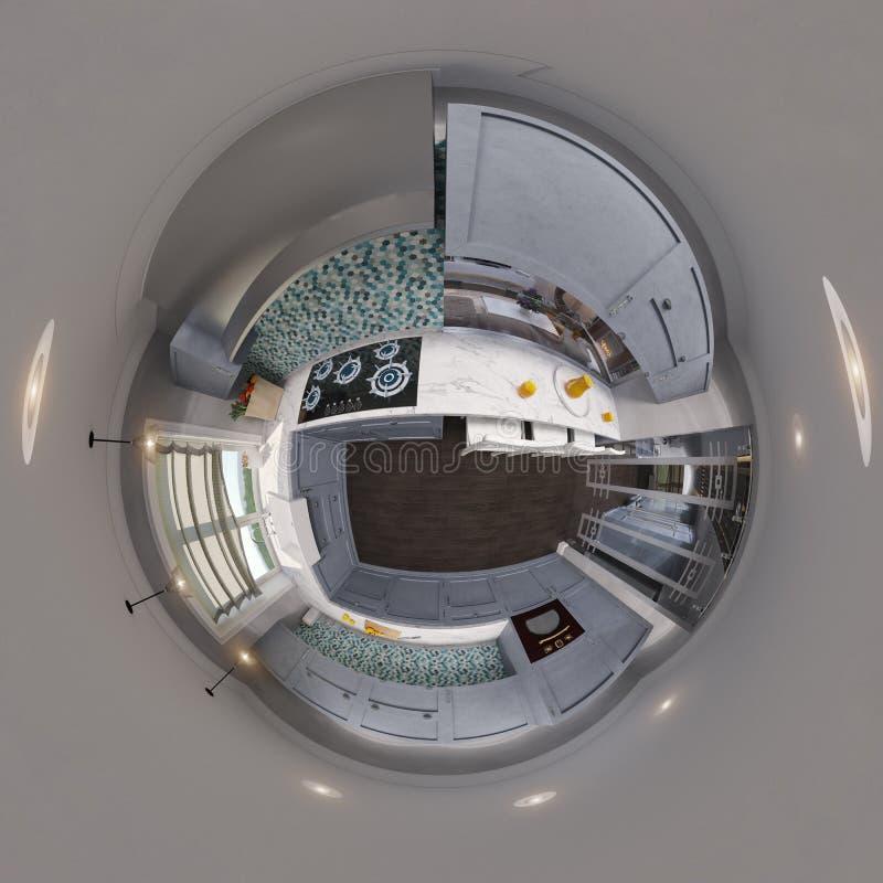 3d bezszwowej kuchennej panoramy ilustracyjni bańczaści 360 stopni ilustracja wektor