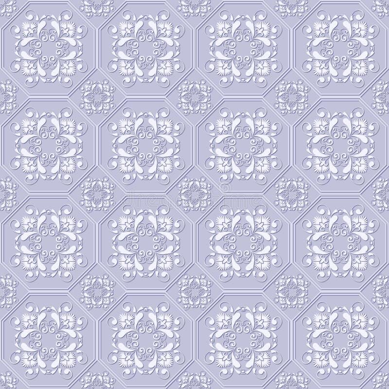 3D bezszwowy embossed wzór z białymi kwiatami szczegółowy rysunek kwiecisty pochodzenie wektora royalty ilustracja