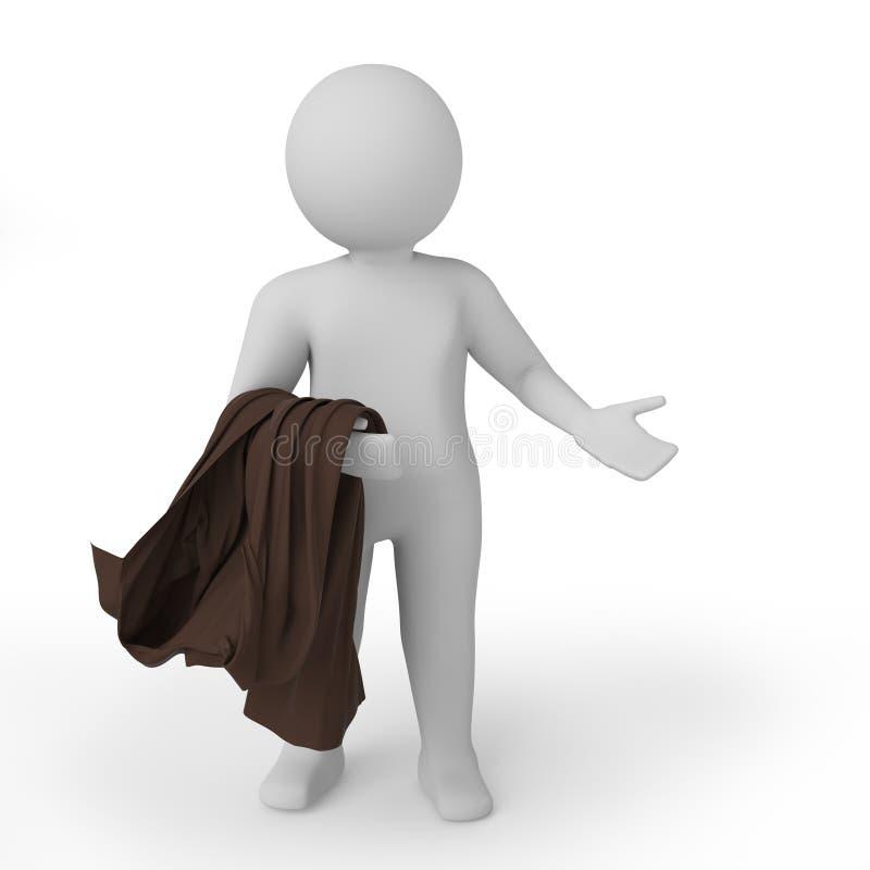 3d biała osoba zawtydzająca Odosobniony biały tło świadczenia 3 d ilustracji