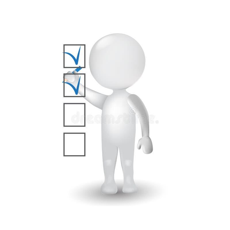 3D białego człowieka robi czek ocenie w ankieta loga ikonie ludzie ilustracja wektor