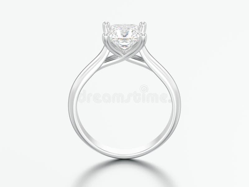 3D białego złota lub srebra ilustracyjny zaręczynowy złudzenie przekręcający royalty ilustracja
