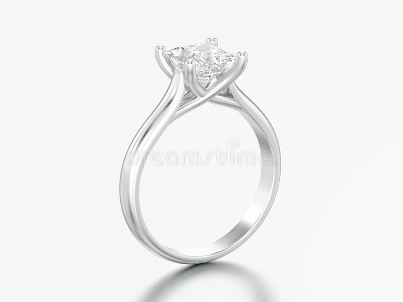 3D białego złota lub srebra ilustracyjny zaręczynowy złudzenie przekręcający ilustracji