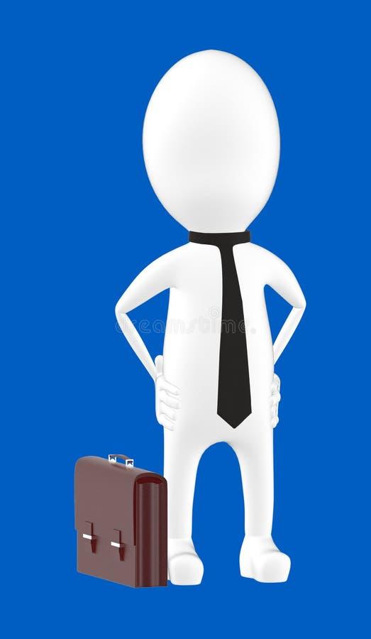 3d biały charakter jest ubranym krawat i ręki na biodro pozie - dominuje, ufny royalty ilustracja