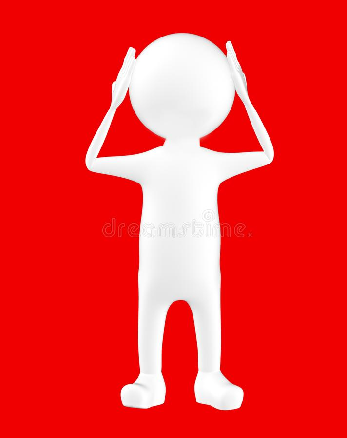3d biały charakter trzyma jego ręki na jego głowa royalty ilustracja
