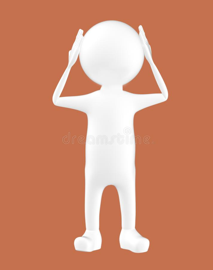 3d biały charakter trzyma jego ręki na jego głowa ilustracja wektor
